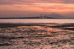 Sunrise and Sunset in Penang Bridge George Town, Penang Malaysia Royalty Free Stock Images