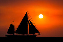 Sunrise Sunset Sailboat Ocean Background Royalty Free Stock Image