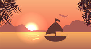 Sunrise or Sunset, Sea, Mountain and Palm Trees. For Print, Create Videos or Web Graphic Design. Illustration Vector Royalty Free Stock Photography