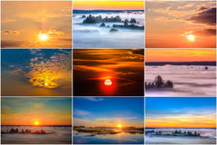 Sunrise and sunset. Stock Image