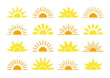 Sunrise & sunset symbol collection. Flat vector icons. Morning sunlight signs. Isolated objects. Yellow sun rise over horison. Sunrise & sunset symbol collection stock illustration