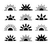 Sunrise & sunset symbol collection. Horison flat vector icons. Morning sunlight signs. Isolated object. On white background stock illustration