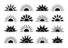 Sunrise & sunset symbol collection. Horizon flat vector icons. Morning sunlight signs. Isolated object. On white background vector illustration