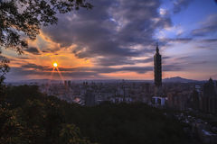 The sunrise sunset in Taipei Royalty Free Stock Photos