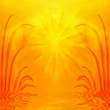 Sunrise, Sunset On Water. Bright, vivid orange and yellow tones in this spiritual theme sunrise or sunset rendition background of sunlight and bursting rays on Royalty Free Stock Photos