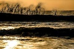 Sunrise Sunset waves royalty free stock photos