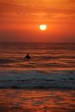 Sunrise Surfer, Sunshine Coast, Australia. A single surfer waits for a perfect wave as the sun rises over the sea in Maroochydore, Sunshine Coast, Australia Royalty Free Stock Images