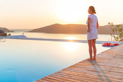Sunrise at swimming pool Royalty Free Stock Images