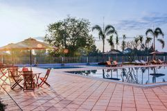 Sunrise at Swimming Pool stock photography