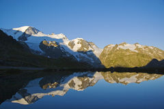 Sunrise in the Swiss mountains Stock Photography