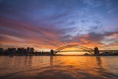 Sunrise Sydney Harbor bridge. Royalty Free Stock Photo