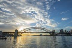 Sunrise Sydney Harbor bridge. Stock Image