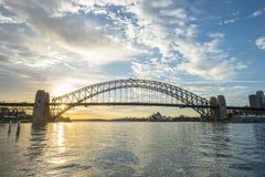 Sunrise Sydney Harbor bridge. Royalty Free Stock Images