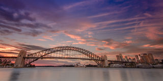 Sunrise at Sydney harbor. Sydney harbor at sunsire with pink and blue sky Royalty Free Stock Images