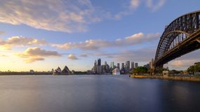 Sunrise on Sydney Harbour from Milsons Point, NSW, Australia royalty free stock photography