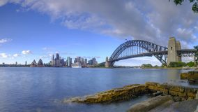 Sunrise on Sydney Harbour from Milsons Point, NSW, Australia royalty free stock photo