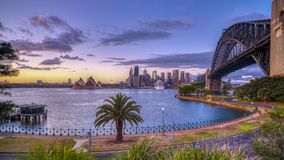 Sunrise on Sydney Harbour from Milsons Point, NSW, Australia royalty free stock image