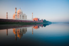 Sunrise at Taj Mahal on Jamuna river Stock Photos