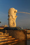 Sunrise on Merlion. Sunrise taken on Merlion, Singapore Stock Photos