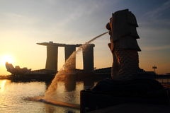 Sunrise on Merlion Royalty Free Stock Photography