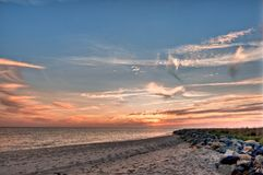 Sunrise at Tangier Island Virginia. Sunrise on the beach at Tangier Island on the Chesapeake Bay Virginia Royalty Free Stock Image