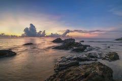 Sunrise at Tanjong Jara. Soft focus due long exposere of blue sky view from Batu Pelandok beach, Terengganu Malaysia Stock Images