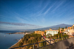 Sunrise in Taormina on Sicily Stock Image
