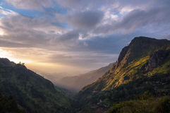 Sunrise in tea mountains, Sri Lanka Royalty Free Stock Image
