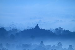 Sunrise on temple Borobudur Stock Photos