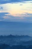 Sunrise on temple Borobudur royalty free stock image