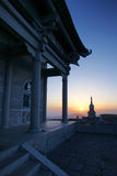 Sunrise temples. In Wutaishan in Shanxi province in china Royalty Free Stock Photography