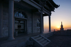Sunrise temples. In Wutaishan in Shanxi province in china Royalty Free Stock Image