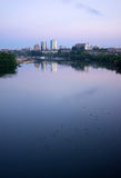 Sunrise Tennessee River Waterbirds Knoxville Downtown City Skyli. The river is serene showing the city reflection at sunrise in Knoxville Stock Photos