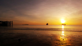 Sunrise at Thai sea. Bangsapan, Prachuap khiri khan royalty free stock photography