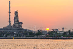 Sunrise at Thailand refinery Royalty Free Stock Photos