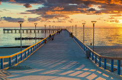 Sunrise at theBaltic sea, Palanga. Sunrise at the famous marine pier in resort city of Palanga, Lithuania, Europe Stock Photography