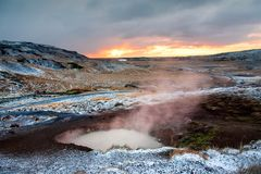 Sunrise at thermal hot springs in Iceland stock photos