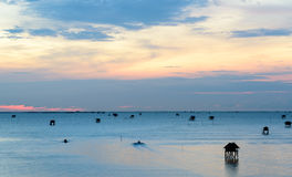 Sunrise time ,Boat and  Thai fisherman village in Bangtaboon Pet Stock Photos