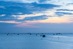 Sunrise time ,Boat and  Thai fisherman village in Bangtaboon Pet Stock Photography