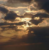 Sunrise time and clouds. In summer royalty free stock image