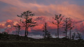 Sunrise time lapse of red clouds and trees stock footage