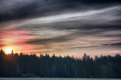 Sunrise time in summer morning , meadow and forest and colour sk Royalty Free Stock Images