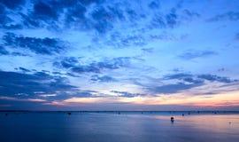 Sunrise time Thai fisherman village in Bangtaboon Petchaburi, Th Royalty Free Stock Photography