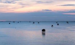 Sunrise time Thai fisherman village in Bangtaboon Petchaburi, Th Royalty Free Stock Image