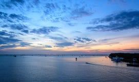 Sunrise time Thai fisherman village in Bangtaboon Petchaburi, Th Stock Images