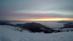 Sunrise timelapse at Dragobrat ski resort, Ukraine stock footage