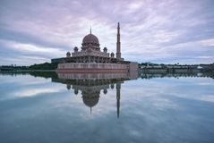 Sunrise timelapse at Putra Mosque, Putrajaya, Malaysia.  stock video footage