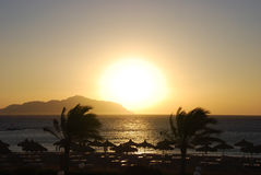 Sunrise from Tiran island. In Sharm el Shekh Royalty Free Stock Photography