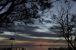 Sunrise Titusville Florida with View of Cape Canaveral Stock Photo
