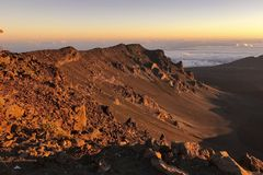 Views from Haleakala Crater just after sunrise stock photo